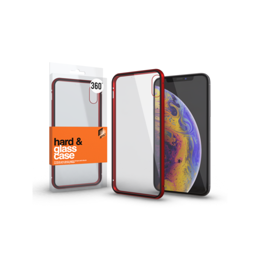Magnetic tok (360°) Átlátszó. Piros kerettel Apple iPhone 11 Pro Max készülékhez