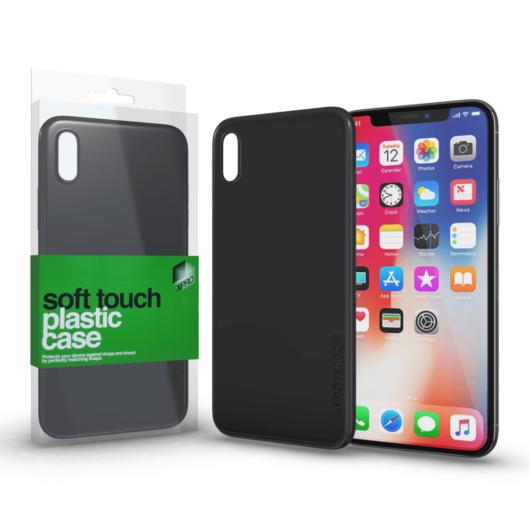 Plasztik tok Soft-touch felülettel fekete Apple iPhone X készülékhez