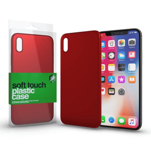 Plasztik tok Soft-touch felülettel piros Apple iPhone X készülékhez