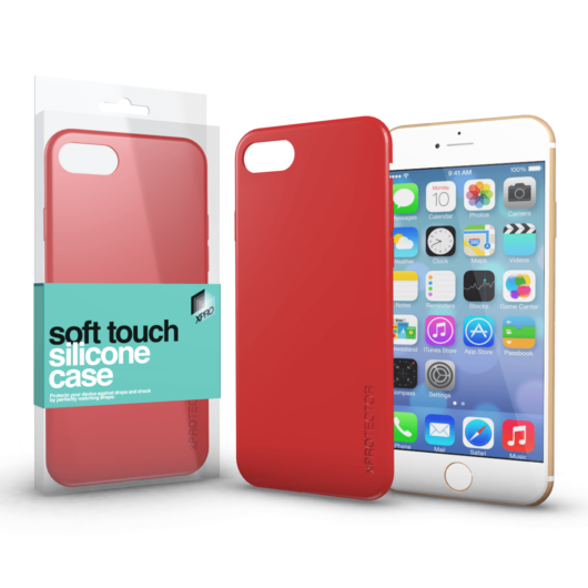 Soft Touch Silicone Case korallpiros Apple iPhone 6 Plus / 6S Plus készülékhez