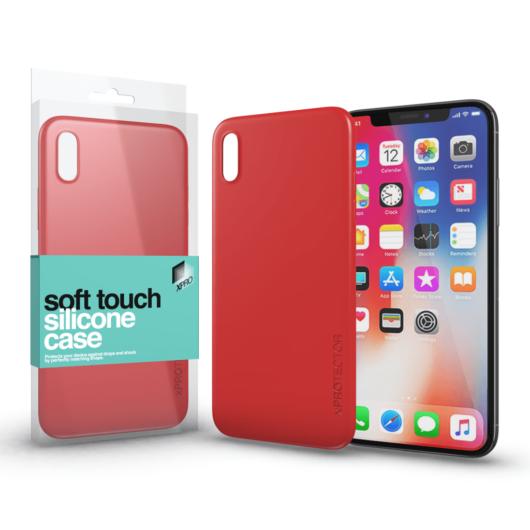 Soft Touch Silicone Case korallpiros Apple iPhone X készülékhez