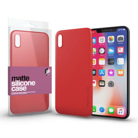 Szilikon matte tok ultra vékony korallpiros Apple iPhone X készülékhez