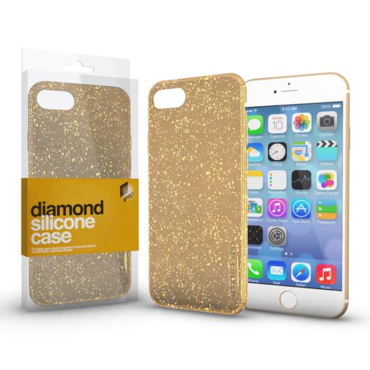Szilikon tok (Diamond) Arany Apple iPhone 7 Plus / 8 Plus készülékhez