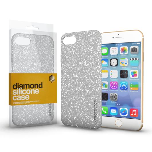 Szilikon tok (Diamond) Ezüst Apple iPhone Xs Max készülékhez