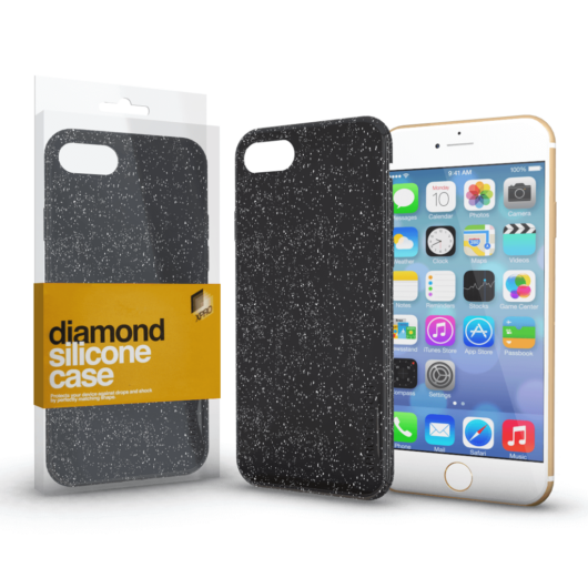 Szilikon tok (Diamond) Fekete Apple iPhone 5 / 5S / SE (2016) készülékhez