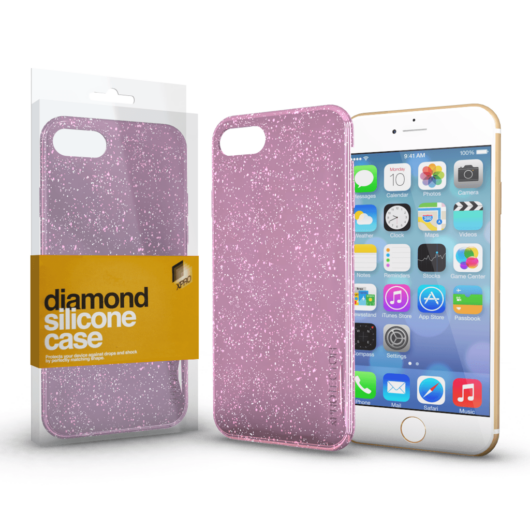 Szilikon tok (Diamond) Pink Apple iPhone 7/8/SE (2020) készülékhez
