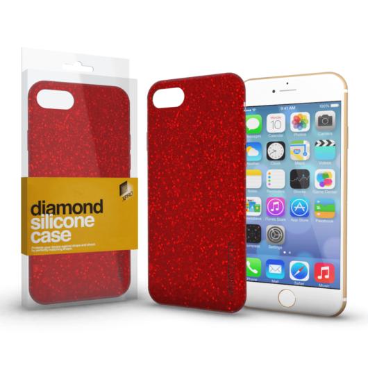 Szilikon tok (Diamond) Piros Apple iPhone 7/8/SE (2020) készülékhez