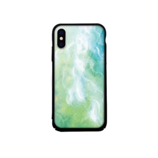 Tempered Glass tok zöld (Marble) Apple Iphone 7Plus/8Plus készülékhez