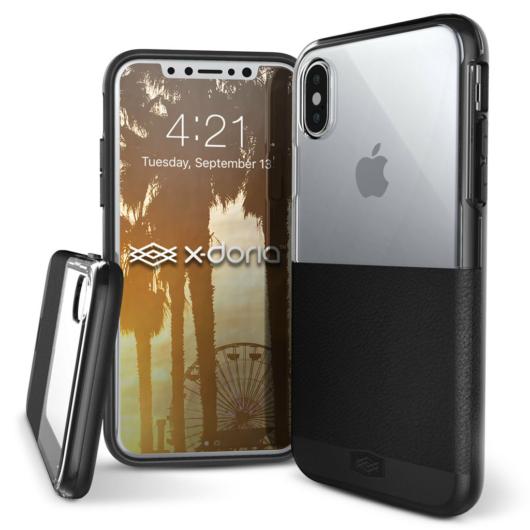 X-Doria Dash védőtok Apple iPhone X/XS készülékhez. Fekete Bőr